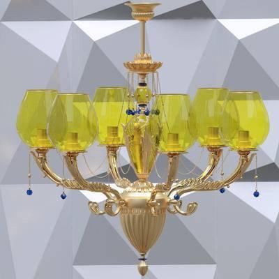 吊灯, 金属, 新古典, 欧式, 灯, 灯具
