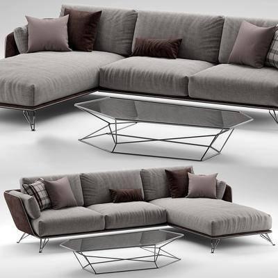 双人沙发, 转角沙发, 茶几, 现代