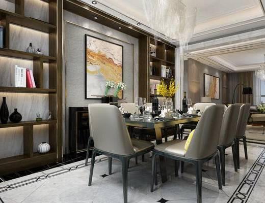 后现代, 餐厅, 餐桌椅, 灯具, 摆件, 餐具
