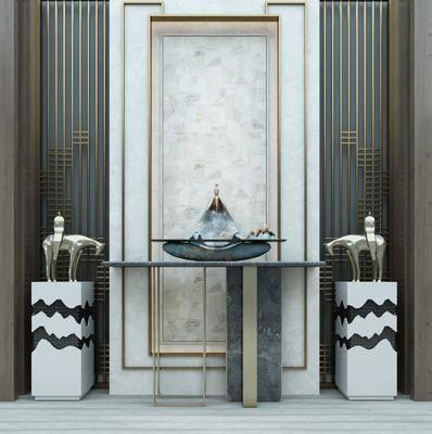 玄关柜, 背景组合, 案几, 佛像, 新中式