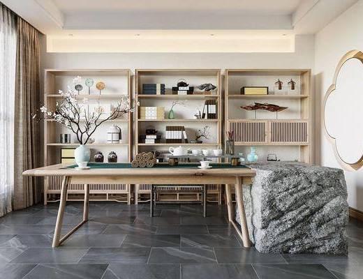 茶室, 茶桌, 茶具组合, 墙饰, 摆件