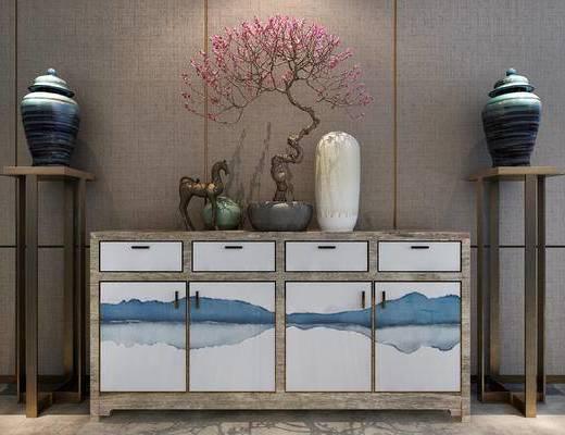 装饰品组合, 端景台, 摆件组合, 花瓶, 干支