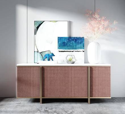 电视柜, 装饰画, 摆件组合, 花瓶