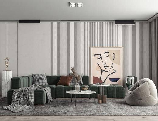 多人沙发, 挂画, 雕塑, 休闲椅, 摆件
