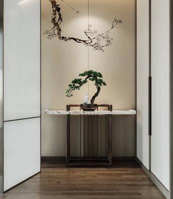 新中式, 玄关, 端景台案