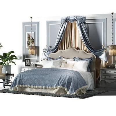 简欧双人床组合, 床, 床帘, 欧式床, 欧式床头柜, 植物