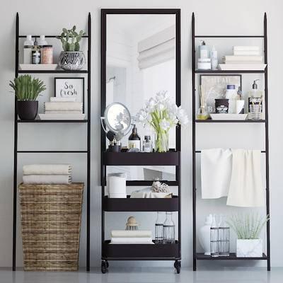 卫浴架, 梳妆镜, 花卉, 洗浴用品, 洗漱用品, 卫浴用品, 卫浴柜架, 现代