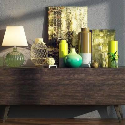装饰柜, 摆件组合, 陈设品, 陈设品组合, 现代, 边柜, 玄关柜, 花瓶, 台灯, 装饰画