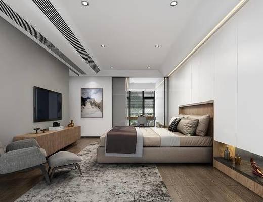 卧室, 床, 休闲椅, 画, 电视柜, 雕塑, 摆件, 装饰品, 现代卧室