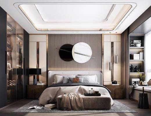 雙人床, 床具組合, 墻飾, 衣柜, 壁燈