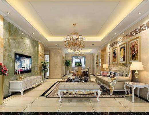 简欧, 客厅, 欧式客厅, 欧式沙发, 沙发组合, 沙发茶几组合