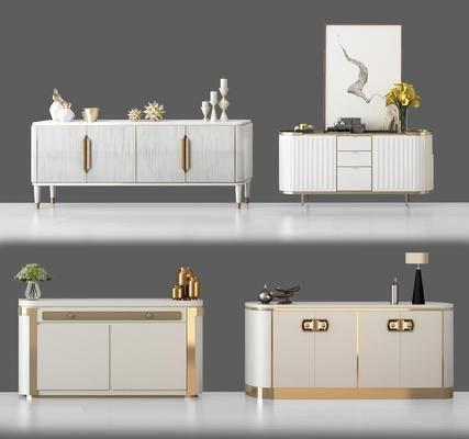 边柜, 端景台, 家具, 现代, 摆件