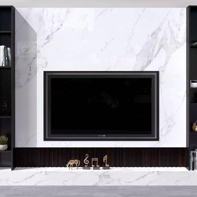 电视墙, 背景墙, 电视柜, 装饰柜, 现代