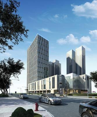 高层公建, 公共建筑, 门面门头, 树木, 绿植植物, 汽车, 现代