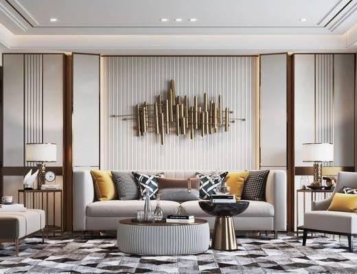 现代, 客厅, 多人沙发, 边几, 角几, 摆件