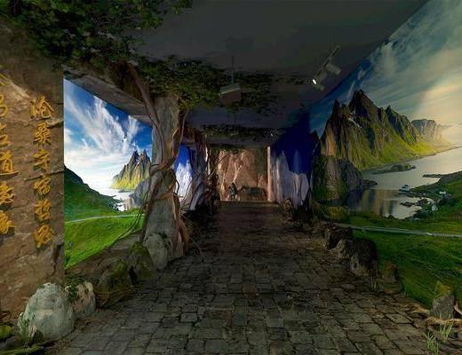 過道走廊, 走廊過道, 綠植植物, 現代