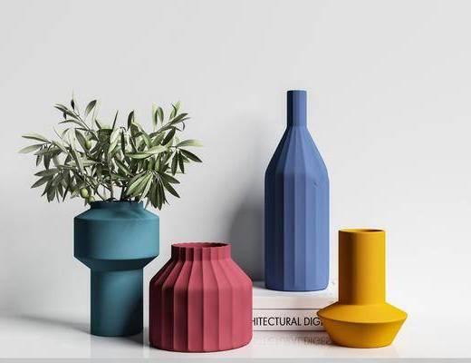 摆件组合, 花瓶, 植物