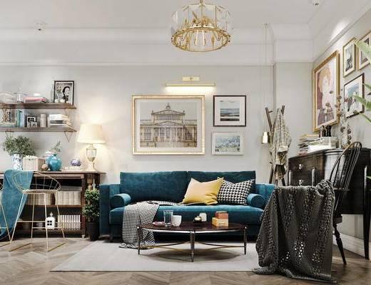 写实, 沙发组合, 沙发茶几组合, 北欧沙发, 现代沙发, 装饰画, 北欧