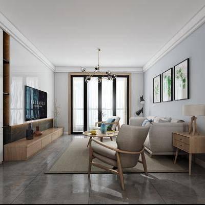 北欧客厅, 北欧, 客厅, 布艺沙发, 椅子, 电视柜, 装饰画