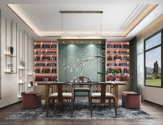 桌椅组合, 背景墙, 吊灯, 置物柜