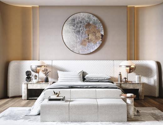 双人床, 墙饰, 床尾踏, 床头柜, 台灯