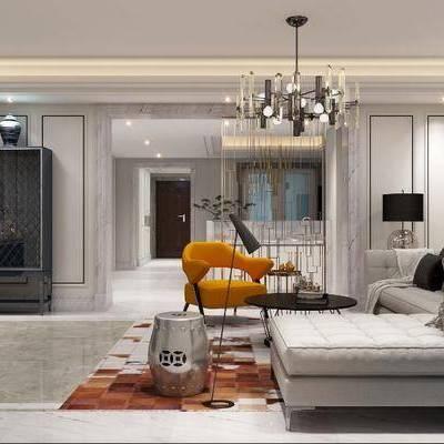 双人沙发, 转角沙发, 布艺沙发, 客厅, 单人沙发, 茶几, 边几, 电视柜, 吊灯, 台灯, 壁灯, 装饰画, 现代