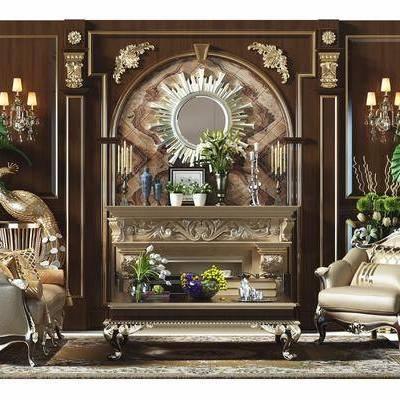 欧式, 古典, 单人沙发, 壁炉, 茶几