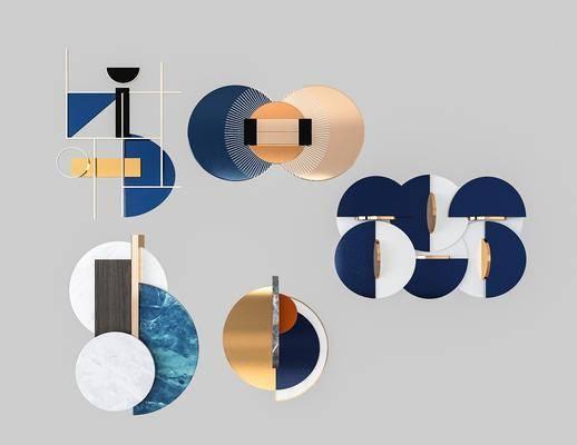 現代輕奢墻飾3d模型, 墻飾, 掛件
