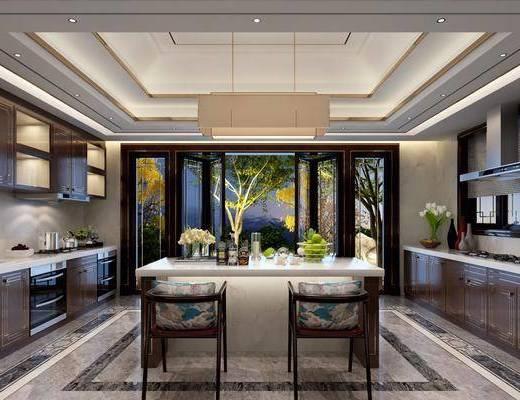厨房, 新中式厨房, 橱柜, 中岛柜, 摆件组合, 厨具, 新中式