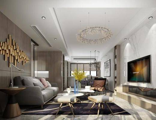 客厅, 餐厅, 多人沙发, 边几, 墙饰, 茶几, 凳子, 单人沙发, 餐桌, 餐椅, 单人椅, 吊灯, 装饰画, 挂画, 布艺沙发, 摆件, 装饰品, 陈设品, 台灯, 现代