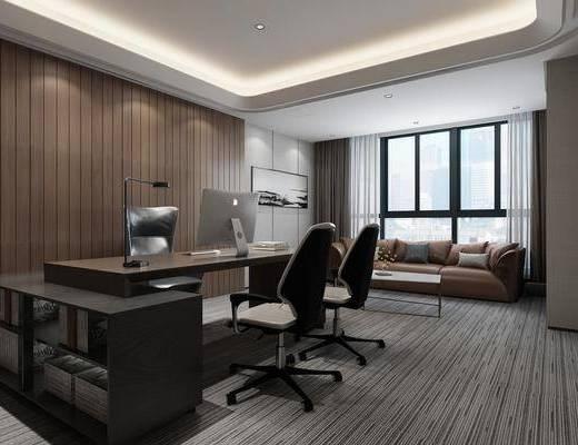 经理室, 办公室, 书桌, 单人椅, 办公桌, 办公椅, 台灯, 书柜, 装饰柜, 多人沙发, 装饰画, 挂画, 电脑, 茶几, 现代