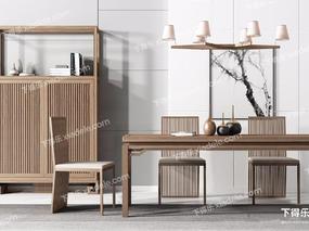 新中式, 新中式餐桌, 实木餐桌, 餐桌组合, 餐桌
