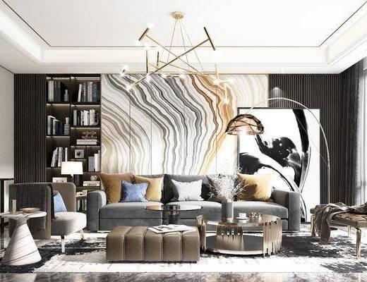 沙发组合, 椅子, 茶几, 吊灯, 床尾踏, 台灯, 玄关端景台, 书柜, 挂画