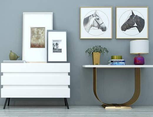 玄关柜, 现代玄关柜, 金属玄关柜, 边柜, 端景台, 装饰画, 墙饰, 装饰品摆件