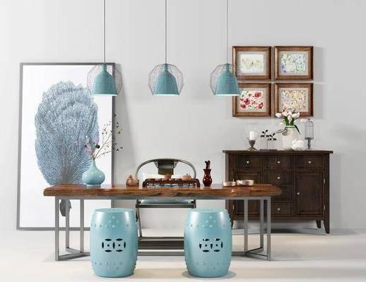 茶桌, 凳子, 装饰画, 挂画, 边柜, 吊灯, 新中式