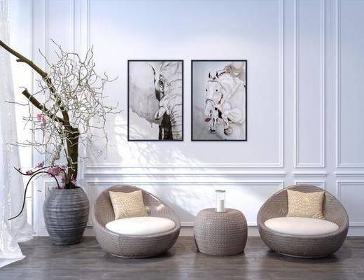 编藤沙发, 边几, 盆栽, 新中式, 单人沙发