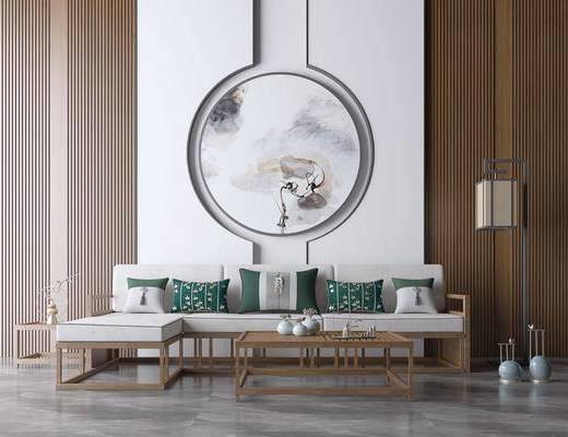 新中式, 沙发组合, 多人沙发, 茶几, 落地灯