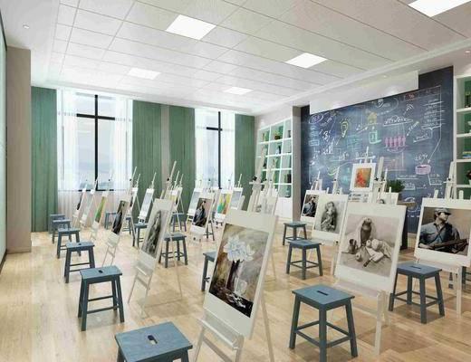 教室, 画板, 凳子, 装饰柜, 黑板, 摆件, 装饰品, 陈设品, 现代