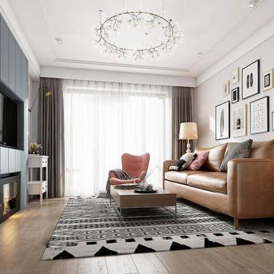 现代客厅, 简美客厅, 客厅, 沙发组合, 沙发茶几组合, 装饰画