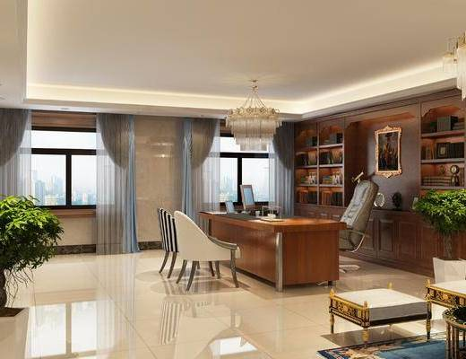办公室, 办公椅, 办公桌, 单人椅, 凳子, 盆栽, 绿植植物, 水晶灯, 文件柜, 书柜, 书籍, 窗帘窗户, 欧式