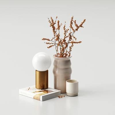花瓶, 灯泡, 书籍, 饰品, 摆件组合