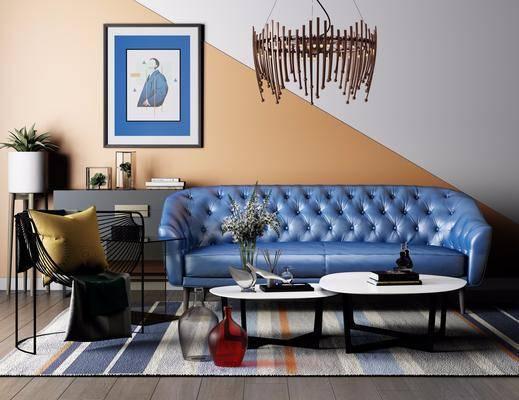 沙发组合, 现代沙发组合, 摆件组合, 茶几, 吊灯, 单椅