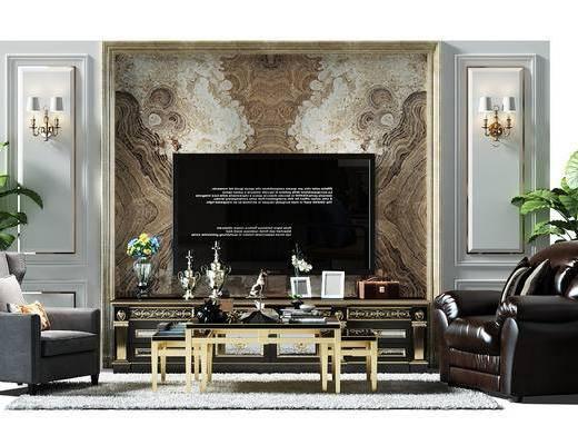 电视墙, 背景墙, 电视背景墙, 盆景, 植物, 椅子, 沙发椅, 茶几, 茶几组合, 电视柜, 单人沙发