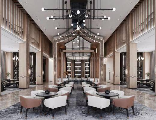 酒店会所, 桌子, 单人椅, 餐桌, 吊灯, 装饰柜, 摆件, 装饰品, 陈设品, 茶桌, 吧台, 吧椅, 现代