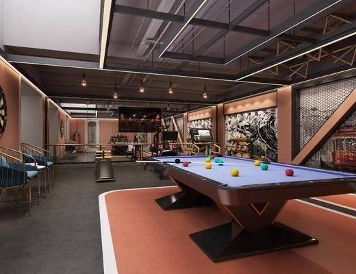 健身房, 桌球, 健?#28783;?#26448;, 单人椅, 吊灯组合, 工业风