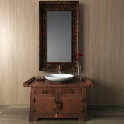 洗手台组合, 装饰镜, 中式