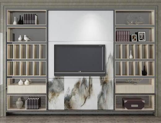 电视背景墙, 置物柜, 装饰柜架