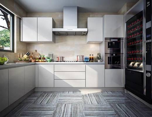 现代, 厨房, 橱柜, 电器, 厨具, 食品