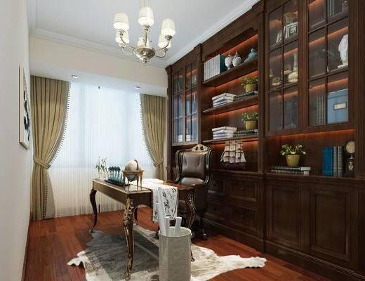 歐式書房, 書房, 書桌椅