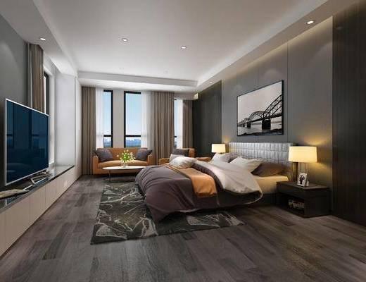 现代卧室, 卧室, 现代, 床, 沙发, 床头柜